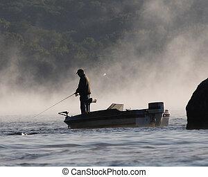 pescador, en, barco
