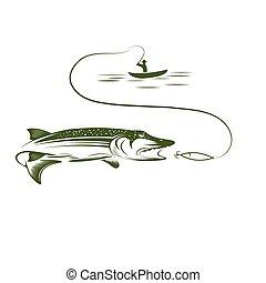 pescador, en, barco, y, lucio