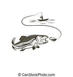pescador, en, barco, y, salmón