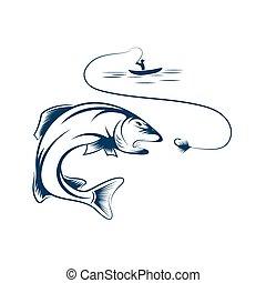 pescador, en, barco, y, trucha