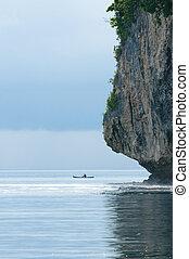 pescador, en, un, barco, banda, mar, indonesia