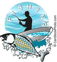 pescador, en, un, barco, con, pez
