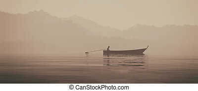 pescador, en, un, barco, en, el, lago