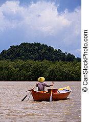 pescador, en, un, barco