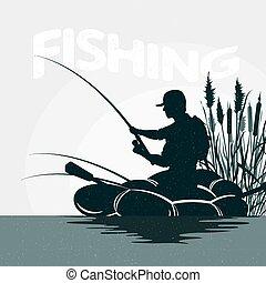pescador, en, un, barco, pesca
