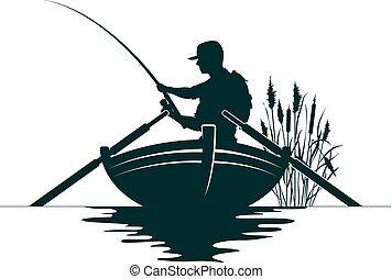 pescador, en, un, barco, y, cañas
