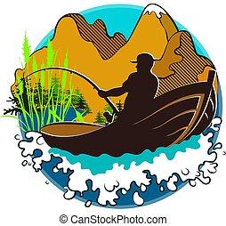 pescador, en, un, barco, y, montañas