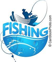 pescador, en, un, barco, y, pez
