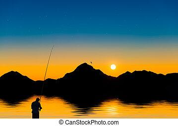 pescador, en, un, lago montaña, en, ocaso