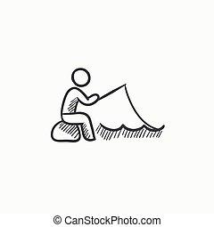 pescador, esboço, vara, icon., sentando