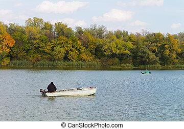 pescador, flotar, en, un, barco