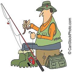 pescador, gancho, pôr, verme