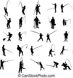 pescador, jogo, silueta