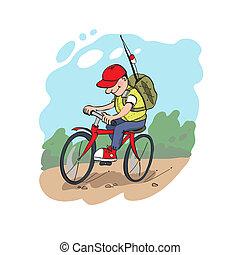 pescador, ligado, um, ciclismo