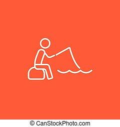 pescador, linha, vara, icon., sentando