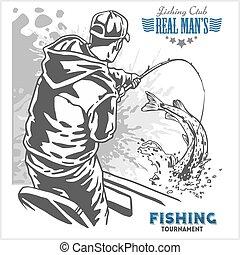 pescador, -, más, emblema, pez, ilustración, retro, vendimia