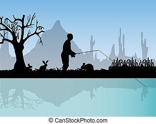 pescador, naturaleza
