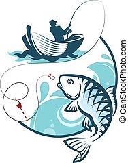 pescador, pesca, de, un, barco