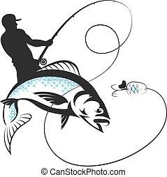 pescador, pez, barra, pesca