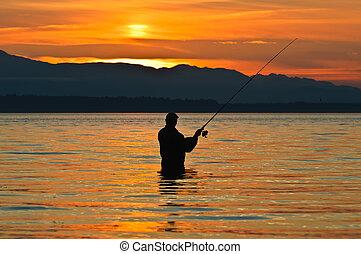 pescador, poste, silueta, pesca, sunset.