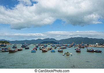 pescador, puerto, muelle