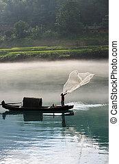 pescador, red, río, bastidor