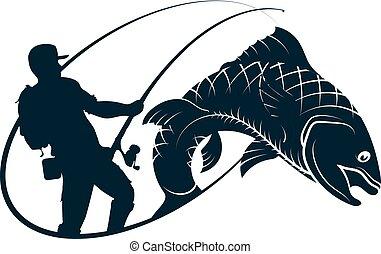 pescador, silueta, pez