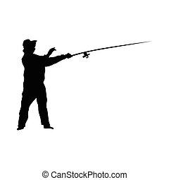pescador, silueta, pretas