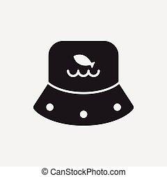 pescador, sombrero, icono