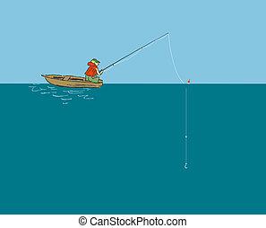 pescador, vara, barco pesca