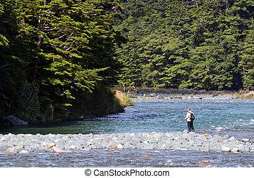 pescador, vuele pescando, en, fiordland