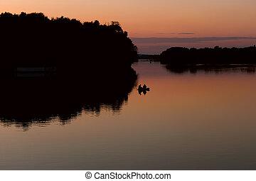 pescadores, após, pôr do sol, bote