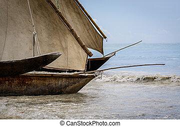 pescadores, barco, zanzibar