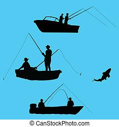 pescadores, de, bote