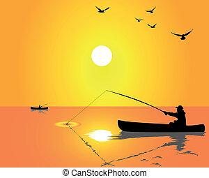 pescadores, de, un, barco