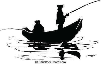 pescadores, en, un, barco
