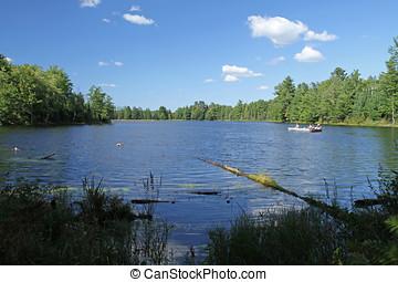 pescadores, ligado, um, selva, lago