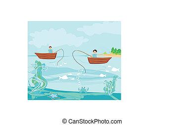 pescadores, pesca, barco