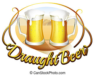 pescaggio, birra, tazze, due, etichetta