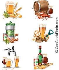 pescaggio, illustrazioni, birra, set
