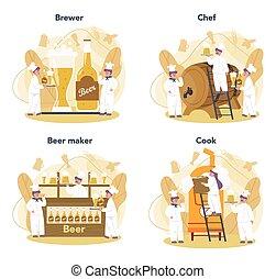 pescaggio, mestiere, produzione, birra, process., fermentazione, fabbrica birra, set.