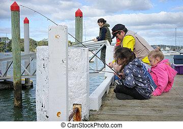 pescaria família, bote, jetty