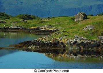 pescatore, capanna, su, un, isola