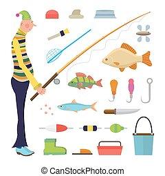 pescatore, cartone animato, pesca, icone