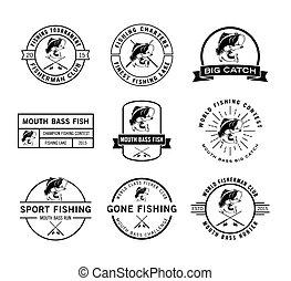 pescatore, distintivo, etichetta