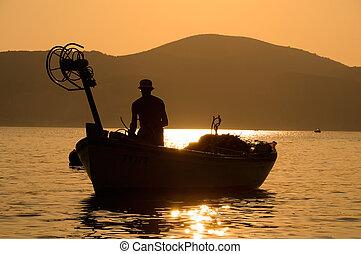 pescatore, in, il, barca