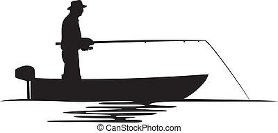 pescatore, in, uno, barca, silhouette