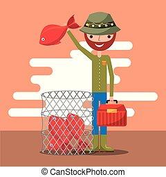 pescatore, pesca, cartone animato