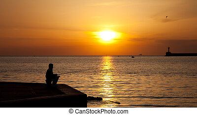 pescatori, silhouette, tramonto