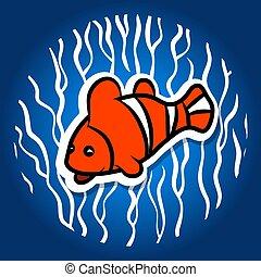 pesce arancia, pappagallo